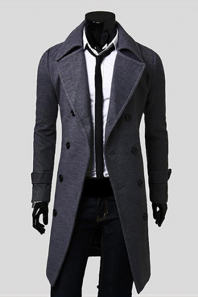 Winter's New Fashion Notched Lapel Collar Long Sleeve Double Breasted Plain Wool Coat
