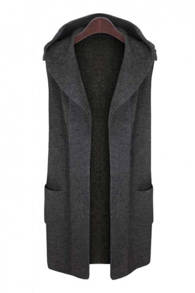 Basic Simple Plain Hooded Sleeveless Open Front Cardigan with Double Pockets