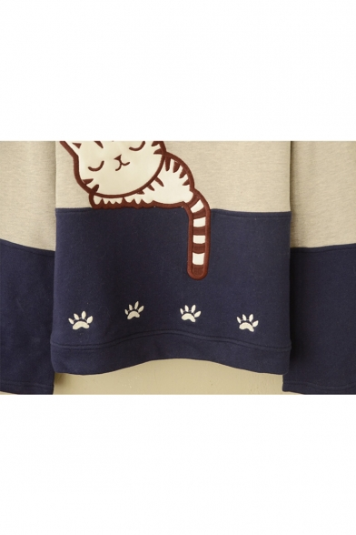 Long Round Cartoon Color Neck Block Cat Sleeping Sleeve Sweatshirt Print XxUB0wx