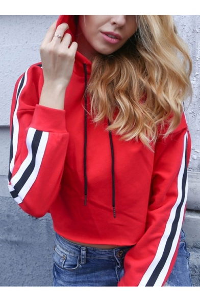 Casual Sports Color Block Striped Printed Long Sleeve Cropped Hoodie