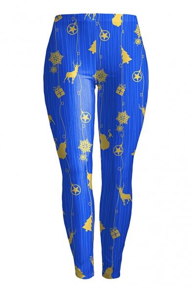 Fashion Christmas Jingle Bell Deer Pattern Skinny Sports Leggings