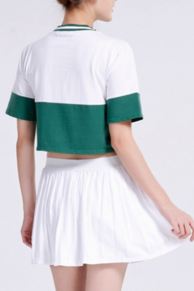 with Cropped Tee Pleated Round Color Skirt Fashion Mini Sleeve Block Neck Short nx7AOpa8wq