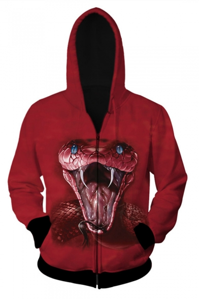 Long Zip Snake Fashion Printed Up Digital Sleeve Hoodie Unisex qxtZZpTwg