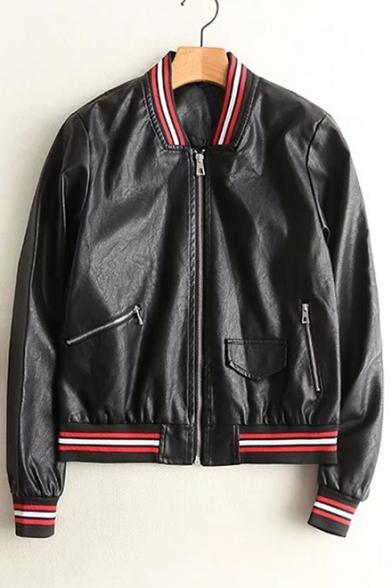 Fashion Rib Color Block Stand-Up Collar Zip Up PU Baseball Jacket