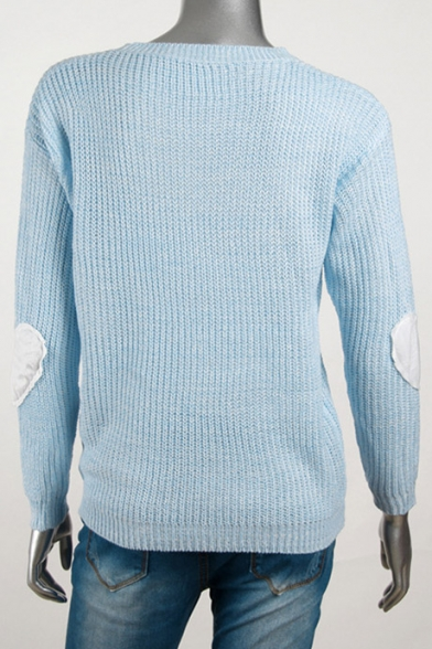 Hot Fashion Love Patched Long Sleeve Round Neck Casual Pullover Sweater