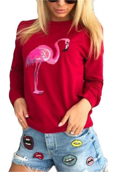 Hot Popular Flamingo Pattern Long Sleeve Round Neck Casual Comfort Sweatshirt LC449885 фото