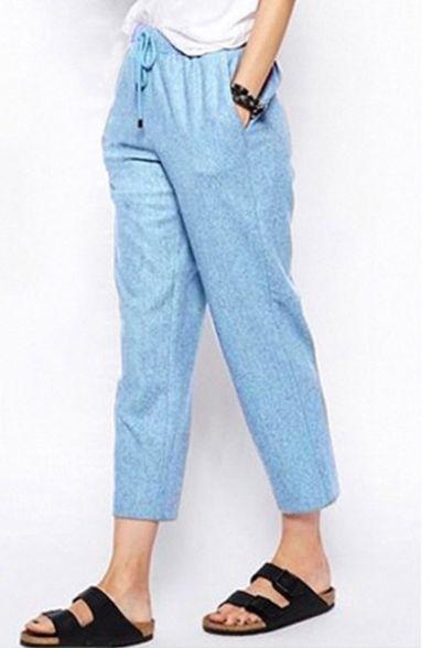 New Collection Simple Plain Drawstring Waist Casual Leisure Tapered Pants LC450435 фото