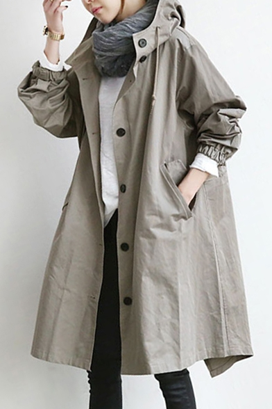 Trench Pockets Sleeve Plain Oversize Coat Hooded Button with Down Long xzwAqYgF