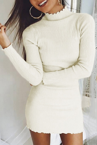 Basic Simple Plain Mock Neck Long Sleeve Mini Bodycon Knit Dress