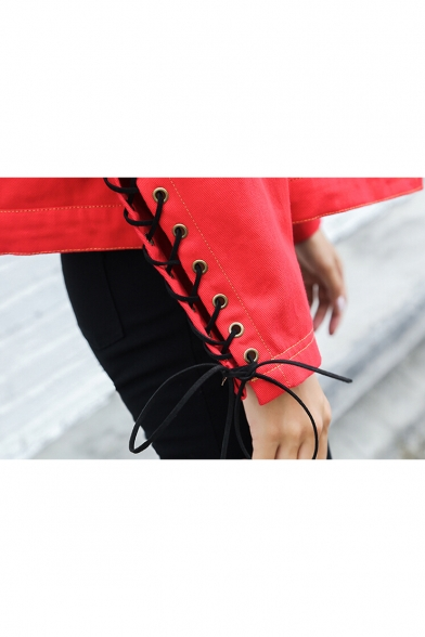 Color Block Letter Print Crisscross Tie Long Sleeve Denim Coat