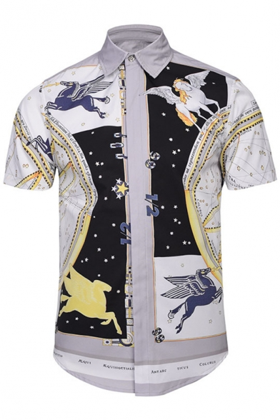 Fashion Color Block Flying Horse Printed Lapel Collar Short Sleeve Shirt