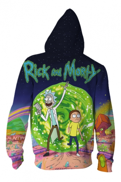 Digital Printed Cartoon Fashion Hoodie Couple Zip Up for Long Character Sleeve FRwfwxt