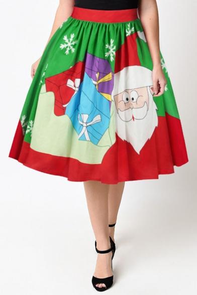 Fashion Digital Christmas Santa Claus Pattern Elastic Waist Midi Flared Skirt