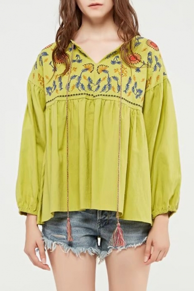 Fashion Floral Embroidered V Neck Long Sleeve Pullover Blouse