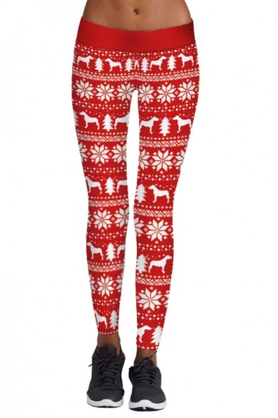 Hot Fashion Christmas Papercuts Pattern Elastic Waist Basic Sports Leggings