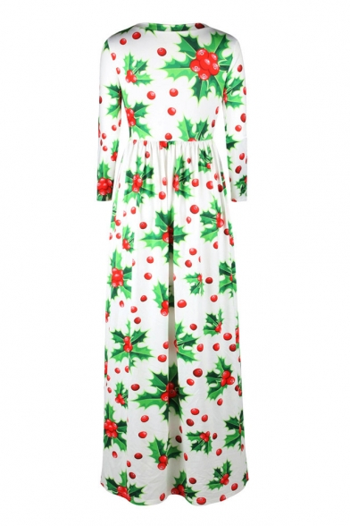 New Arrival Christmas Fruit Trees Pattern Long Sleeve Maxi Dress