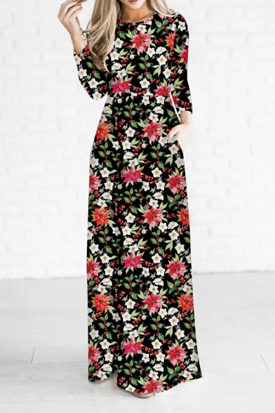 Boots round neck floral printed maxi dress stores clothing bulk