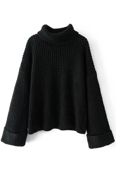 Simple Sleeve Sweater Neck Leisure Plain Trendy New Loose Long Turtle XBn1UIwx4