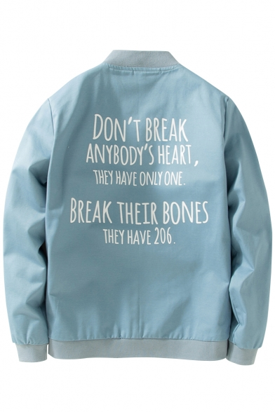 Stand-Up Collar Long Sleeve Cartoon Printed Letter Back Zip Up Jacket