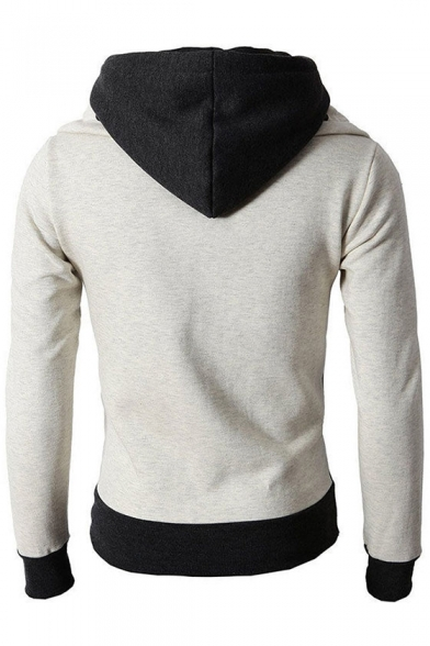 Basic Simple Color Block Winter's Warm Hooded Long Sleeve Zip Up Coat