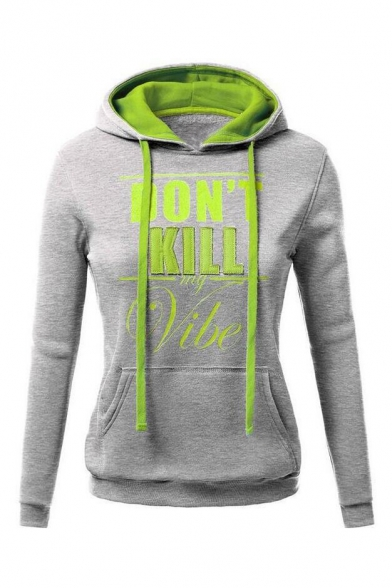 Casual Long Sleeve Fashion Color Block Letter Print Hoodie