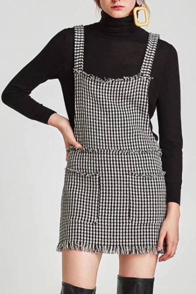 Color Block Texutured Tassel Trim Wide Strap Overall Dress with Pockets