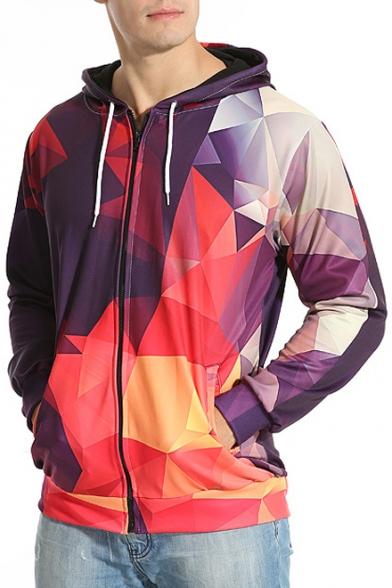 Digital Color Block Mirror Printed Long Sleeve Zip Up Hoodie