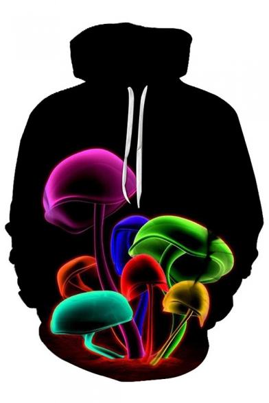Fashion Digital Colorful Mushroom Pattern Long Sleeve Casual Sports Hoodie