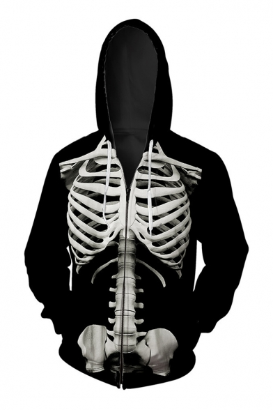 Fashion Up Hoodie Long Sleeve Digital Pattern Skeleton Loose Oversize Zip q6pqrOw