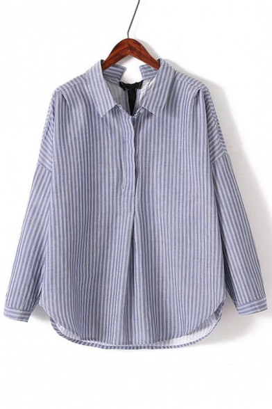 Fashion Tied Back Lapel Collar Long Sleeve Striped Printed Pullover Blouse