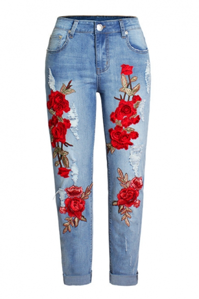New Arrival Casual Leisure Chic Floral Embroidered Ripped Jeans