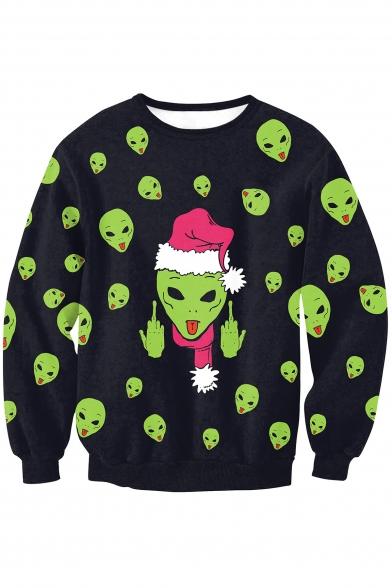 New Arrival Digital Christmas Alien Pattern Long Sleeve Round Neck Sweatshirt