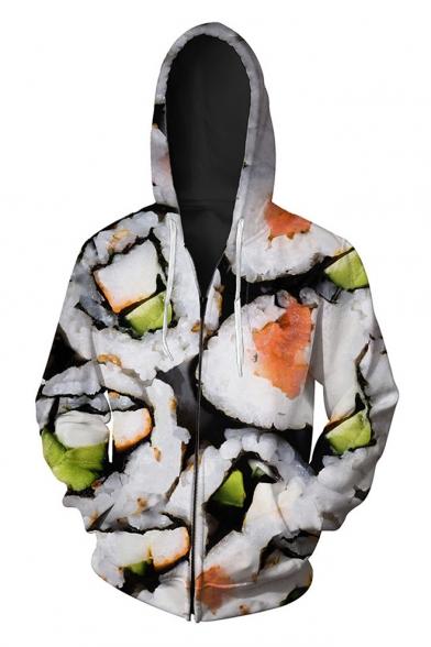 New Arrival Digital Sushi Pattern Long Sleeve Oversize Zip Up Hoodie