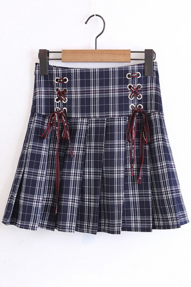 New Arrival Lace-Up Side Classic Fashion Plaids Pattern Mini A-Line Pleated Skirt
