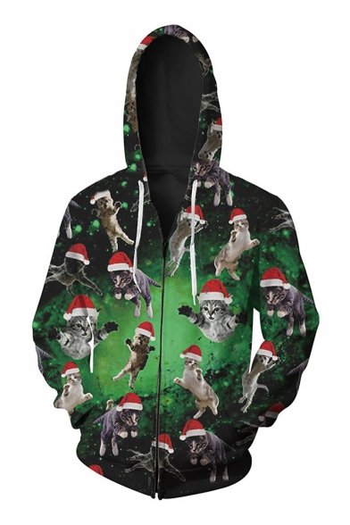 Sleeve Hoodie Up Cartoon Zip Collection Cat Long Pattern Christmas New Oversize q4BxYw7