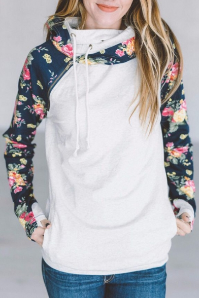 Sports Casual Floral Color New Sleeve Pattern Hoodie Stylish Long Block xwCqxOpS