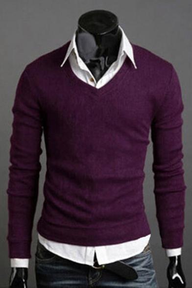 New Sweater Comfort Basic Plain V Trendy Long Pullover Simple Sleeve Neck r1vrxz