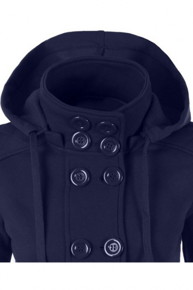 New Trendy Hot Fashion Long Sleeve Hooded Double Breasted Plain Coat