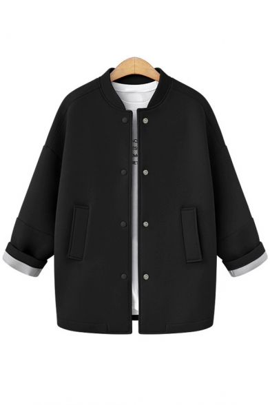 Basic Simple Plain Stand-Up Collar Long Sleeve Single Breasted Coat