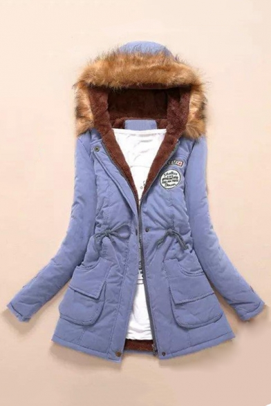 Sleeve Fur Letter Zip Long Up Padded Coat Winter's Hooded Badge Warm Print wpXUnq1a