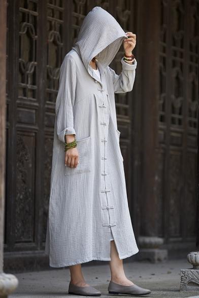 New Arrival Retro Linen Plain Long Sleeve Hooded Buttons Down Cape Coat