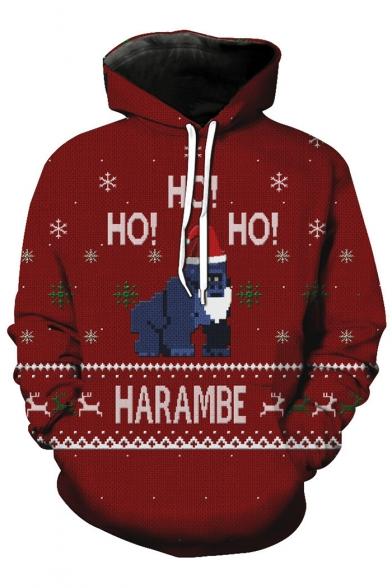 New Stylish Christmas Gorilla Pattern Loose Oversize Sports Long Sleeve Hoodie