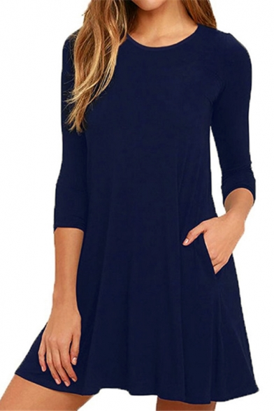 Round Neck 3/4 Sleeve Simple Plain Mini T-shirt Dress with Pockets