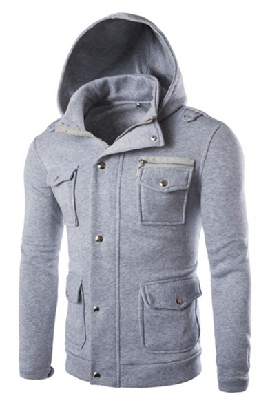 Simple Plain Long Sleeve Multi Pockets Slim Warm Zip Up Hoodie