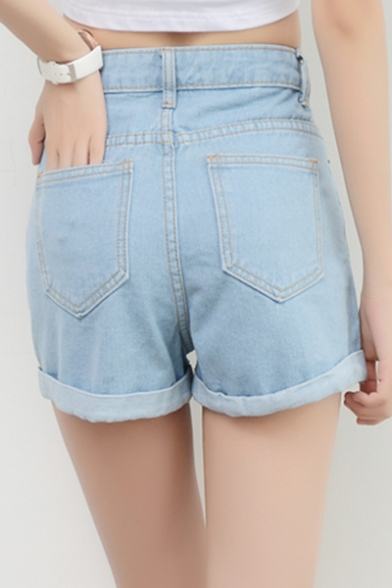 Star Embroidered Rolled Cuff Denim Shorts with Pockets