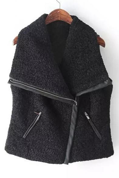 Winter Collection Fashion Lapel Zip Fly Plain Vest