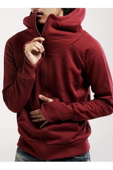 Basic Simple Plain Long Sleeve Comfort Leisure Sports Zip Up Hoodie
