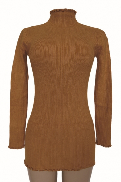Basic Simple Plain Mock Neck Long Sleeve Mini Bodycon Knit Dress