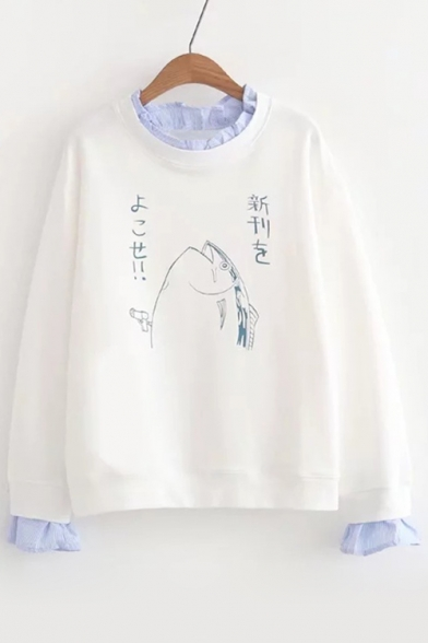 Printed Chic Cute Long Cartoon Layered Sleeve Sweatshirt Fish q778Awxz