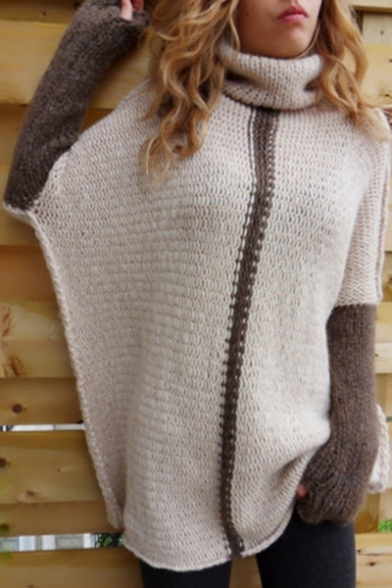 Neck Tunic Fashion Long Block Comfort Sleeve Turtle Sweater Hot Color qTUpEww